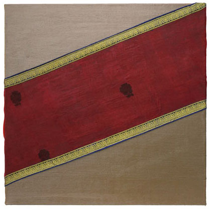 B003 - Madras - 50 x 50cm - 2002 acrylic / silk on canvas - Available