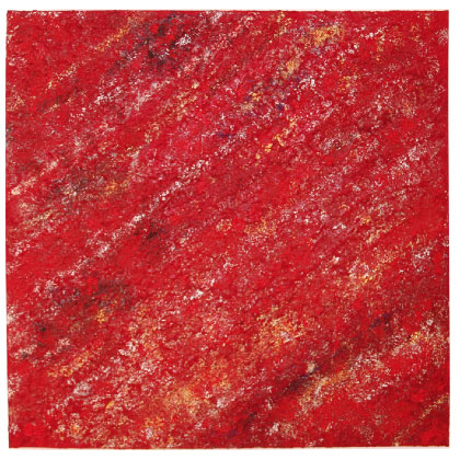 F019 - Red Vibrations - 100 x 100cm - 2012 mixed media on canvas - Available